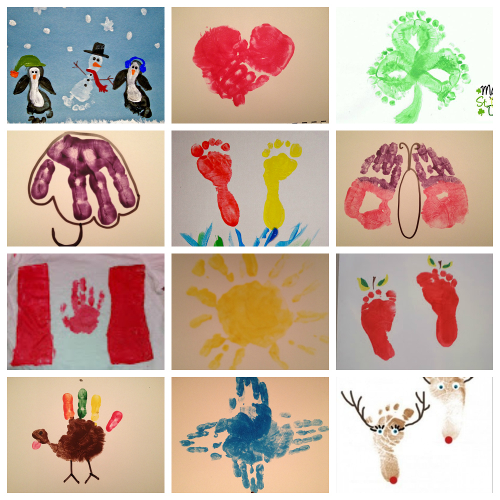 Calendar of 12 handprint and footprint crafts for Craft of the month