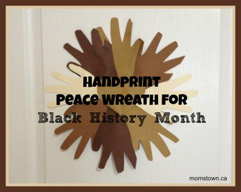 Handprint peace wreath for black history month momstown for Oakville high school craft fair