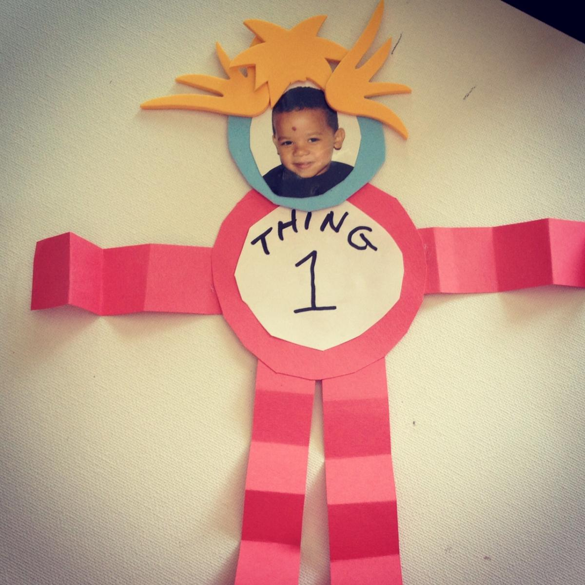 Easy dr seuss crafts - Thing 1 And Thing 2 Photo Craft Is A Cute Way To Use Your Child S Photo For A Dr Seuss Themed Event Or Party