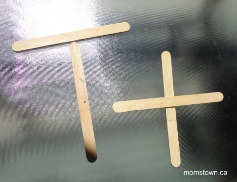 Build letters with popsicle sticks!