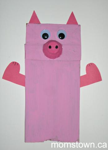 pig puppet template - p is for paper bag pig puppets