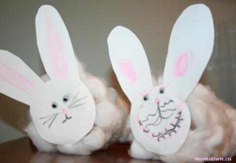 cotton ball easter bunny craft