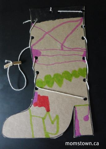 Lacing wild west boot craft helps fine motor skills for West materials crafts