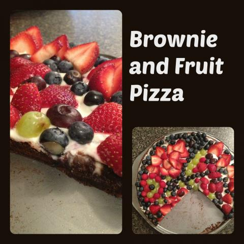 brownie and fruit pizza